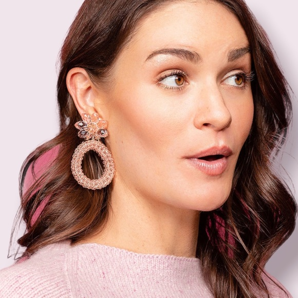 NWT Kate Spade Full Flourish Beaded Hoop Earrings in Blush